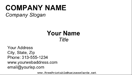 Blank business card for Free printable blank business cards templates