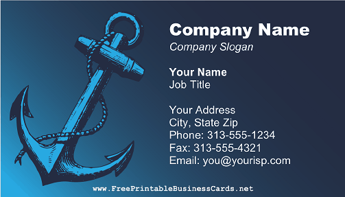 boat anchor business card