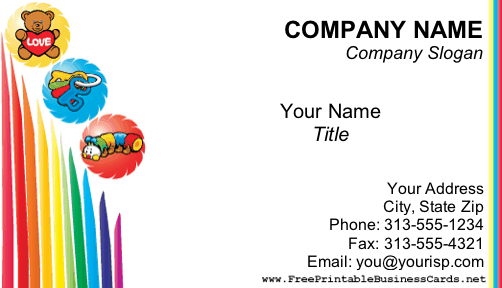 Child care business card accmission Gallery