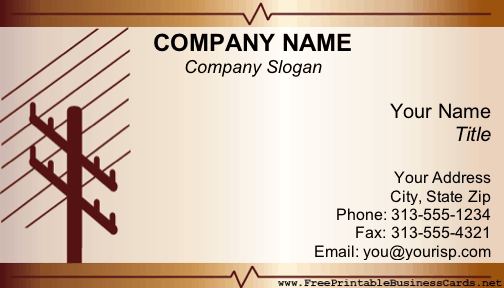 electrical business card - Electrician Business Cards