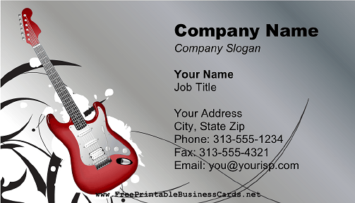 Electric guitar musician business card colourmoves