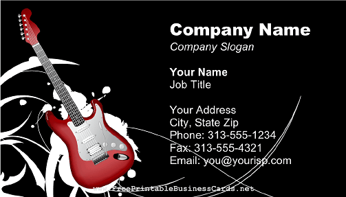 Electric guitar musician 2 business card reheart Images
