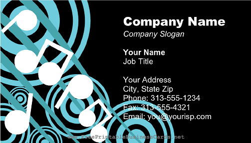 Large music notes black business card for Music business card background