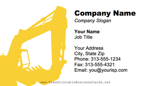 Excavator business card reheart Image collections