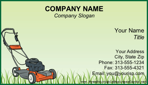 Lawnmower business card accmission