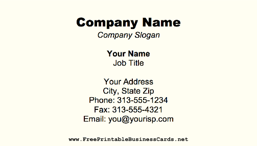 Off White Business Card