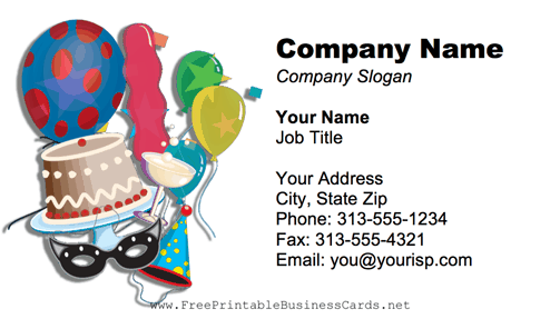Party Supplies Business Card