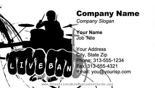 rock band business card - Band Business Cards