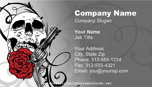 Red Skull Gun And Rose Business Card